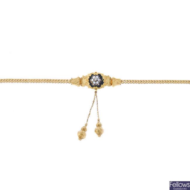 A late 19th century enamel and gem bracelet.