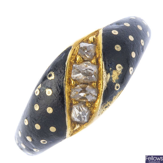 A late 19th century 18ct gold enamel and diamond ring.