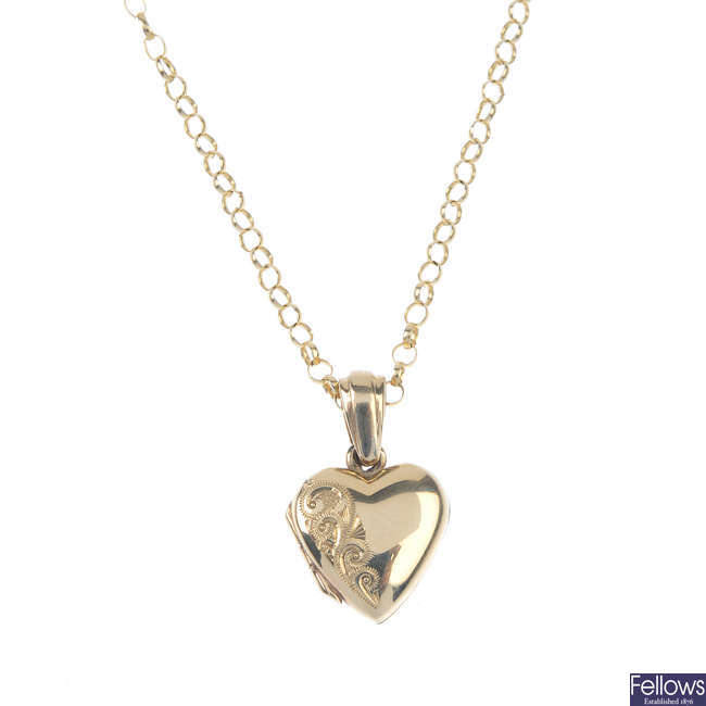 A 9ct gold locket, with chain.