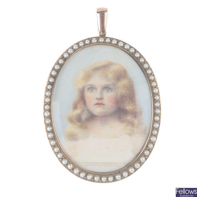 A late 19th century 9ct gold portrait pendant.