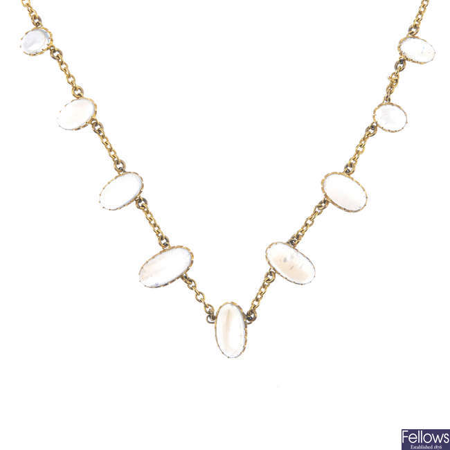 An early 20th century 9ct gold moonstone necklace.