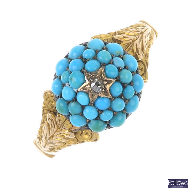 A mid 19th century gold, diamond and turquoise ring.