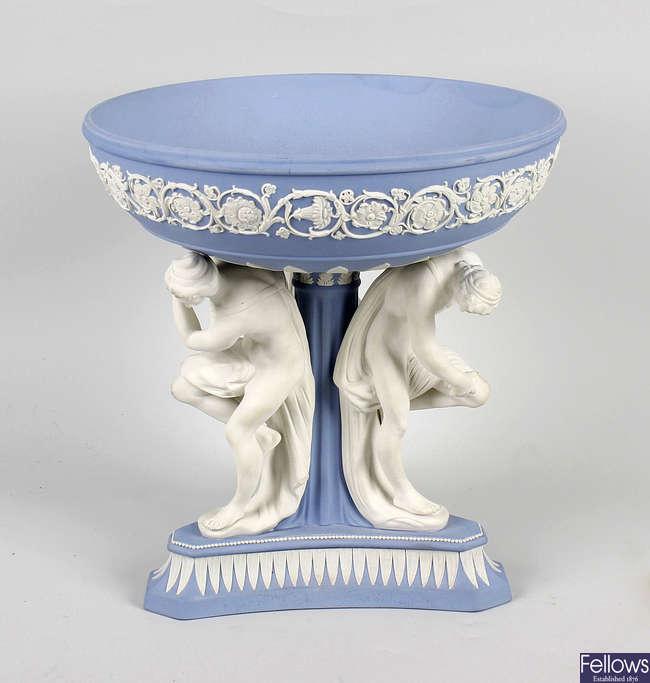 A Wedgwood Jasperware Michelangelo pedestal bowl