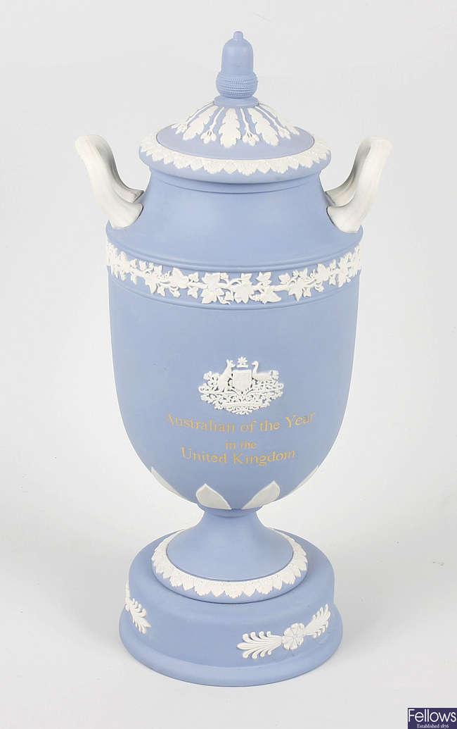 A Wedgwood Jasperware Australian of the Year in the United Kingdom twin handled urn and cover