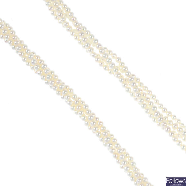 A seed pearl multi-strand necklace.