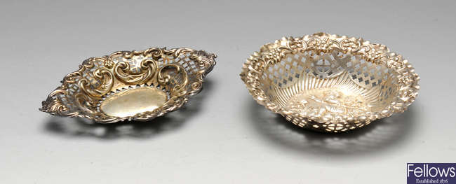 Two late Victorian silver bonbon dishes, etc.