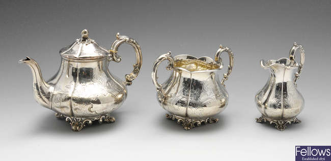 A mid-Victorian three-piece silver tea set.