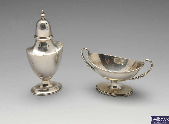 An Edwardian silver twin handled sugar bowl, etc.