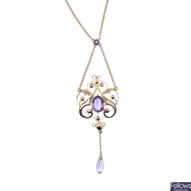 An early 20th century 9ct gold amethyst pendant.