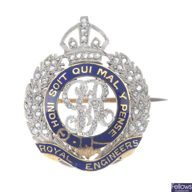 An early 20th century diamond and enamel Royal Engineers Corps brooch.