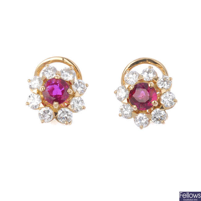 A pair of ruby and diamond floral cluster ear studs.