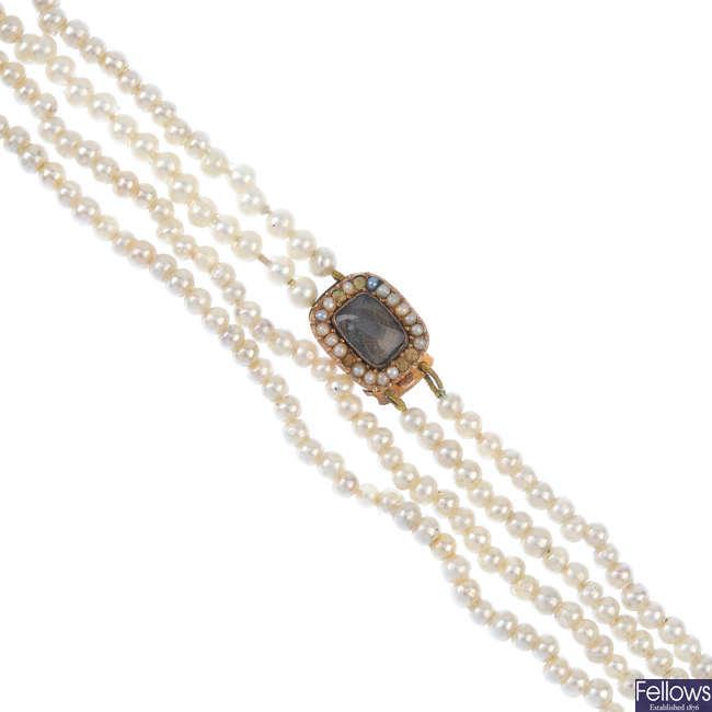 Three items of mid Victorian memorial jewellery.