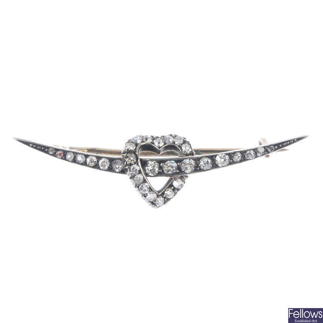 A late 19th century silver and gold, diamond brooch.