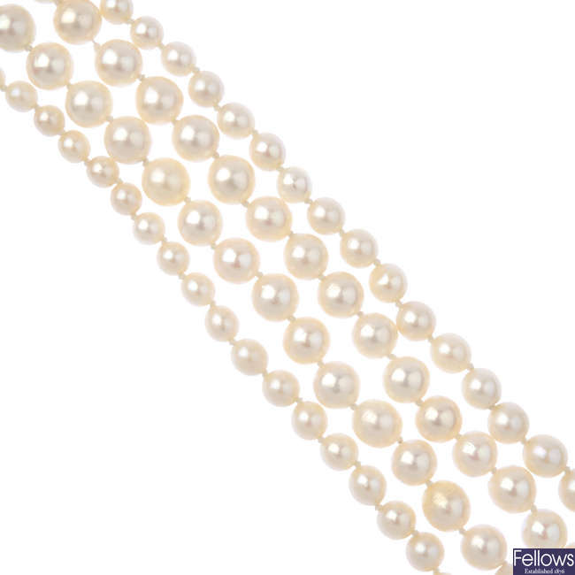 Two cultured pearl single-strand necklaces.