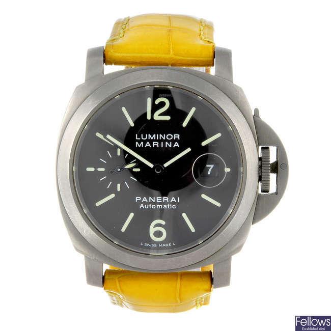(1000925-1-A) PANERAI - a gentleman's titanium Luminor Marina wrist watch.