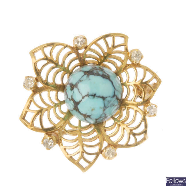 An 18ct gold turquoise and diamond brooch.