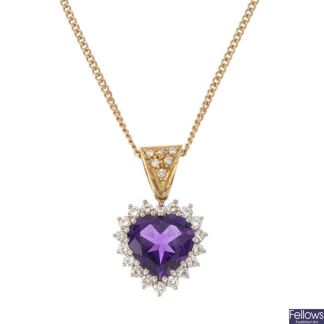 An 18ct gold amethyst and diamond pendant, with chain.
