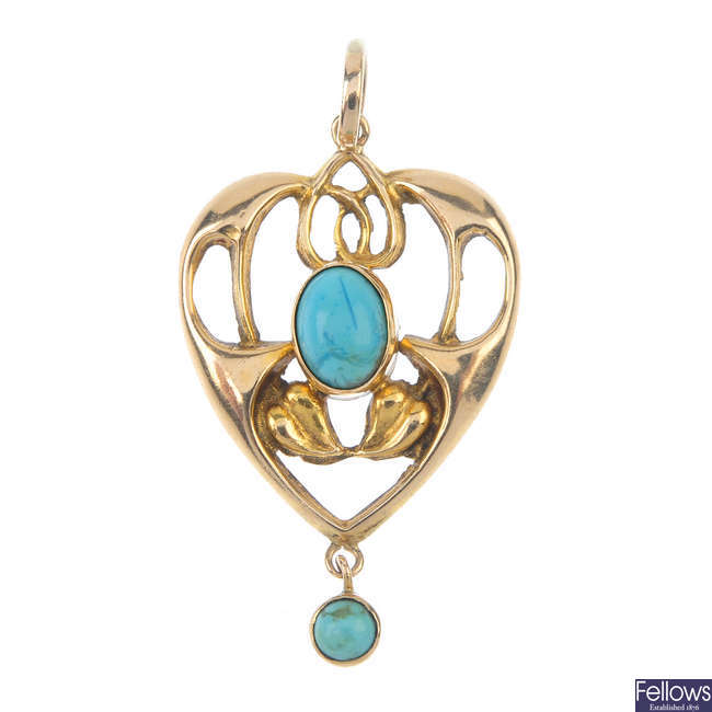 An Edwardian 9ct gold turquoise pendant.