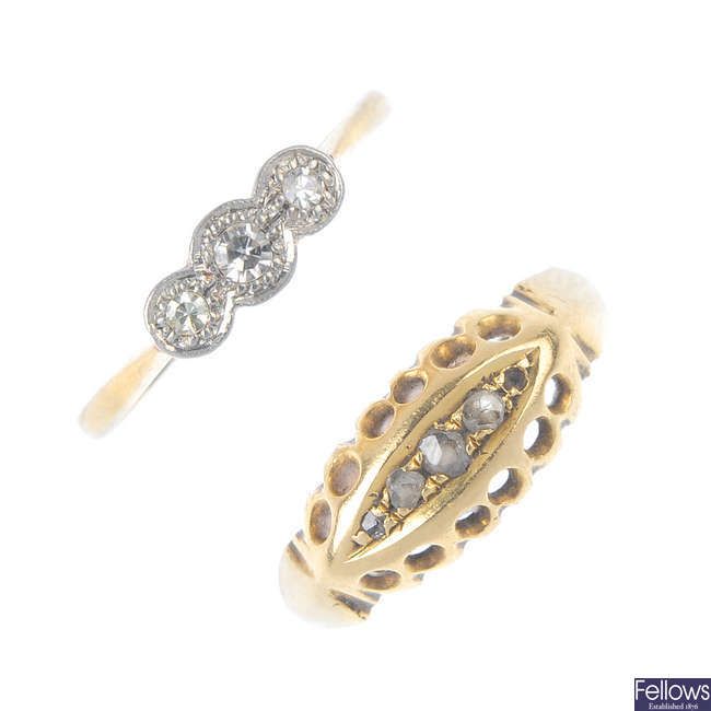 Two early to mid 20th century diamond dress rings.