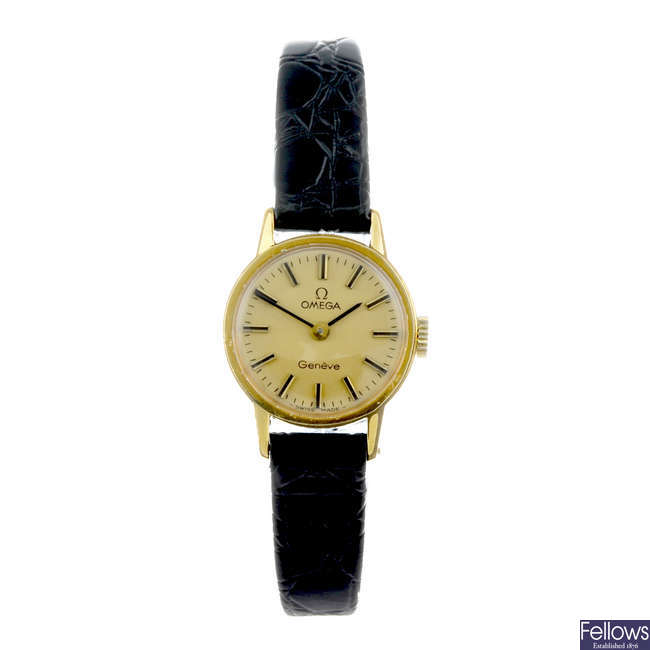 OMEGA - a lady's gold plated Geneve wrist watch.