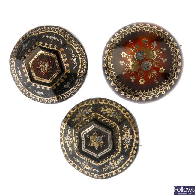Three late 19th century tortoiseshell pique brooches.