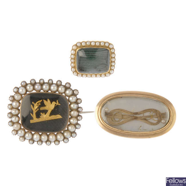 Three mid to late Victorian memorial brooches.