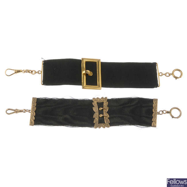 Two late Victorian gold and ribbon bands.
