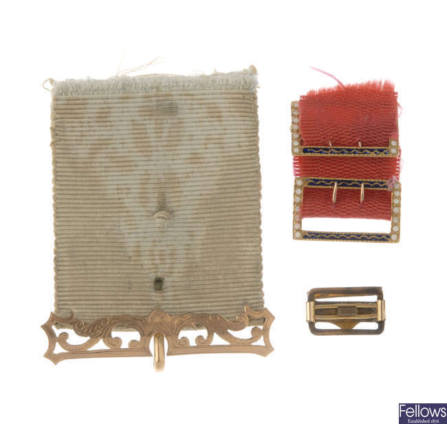 A selection of late 19th century ribbon bands and components.