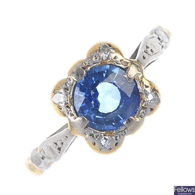 A mid 20th century 18ct gold sapphire ring.