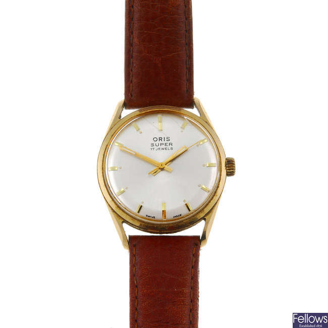 ORIS - a gentleman's gold plated wrist watch together with a Juvenia wrist watch.