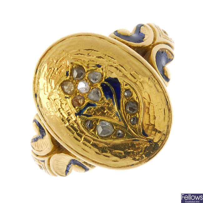 A late Victorian gold and diamond memorial ring.