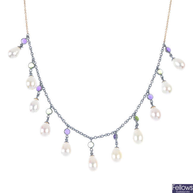 A cultured pearl and gem-set necklace.
