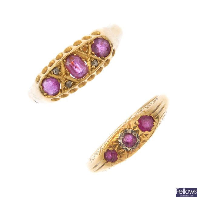Two 18ct gold ruby and diamond rings.