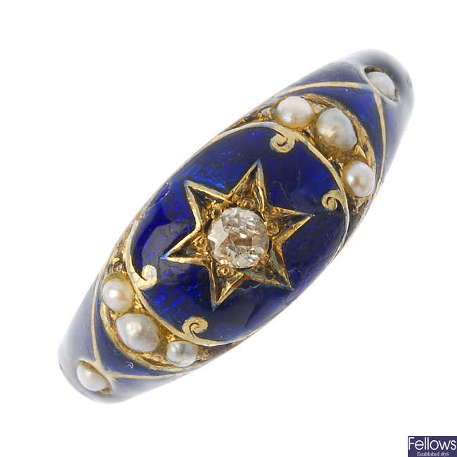 A mid Victorian gold, enamel diamond and split pearl memorial ring.