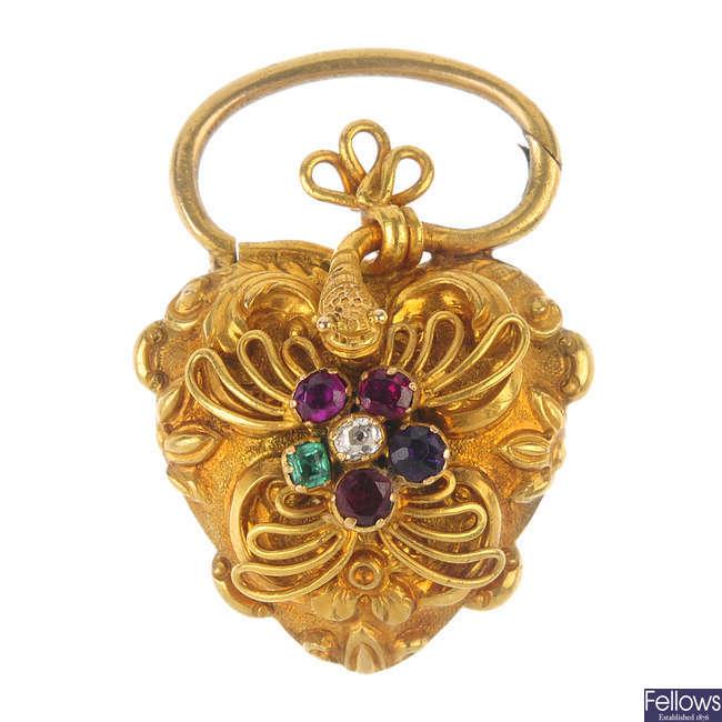 A mid 19th century gold gem-set 'regard' heart locket and snake clasp.