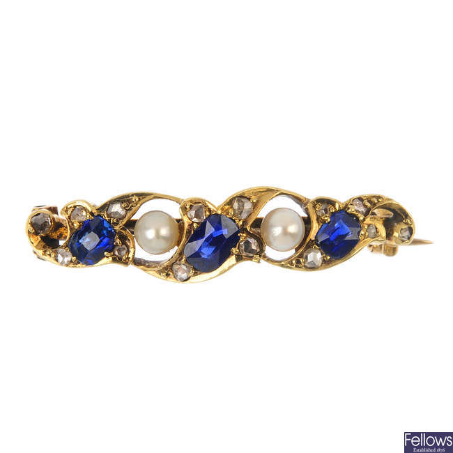 A late 19th century gold, sapphire, seed pearl and diamond brooch.
