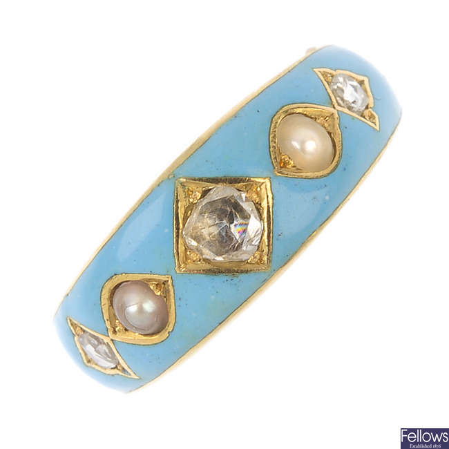 A late 19th century gold diamond, enamel and split pearl ring.