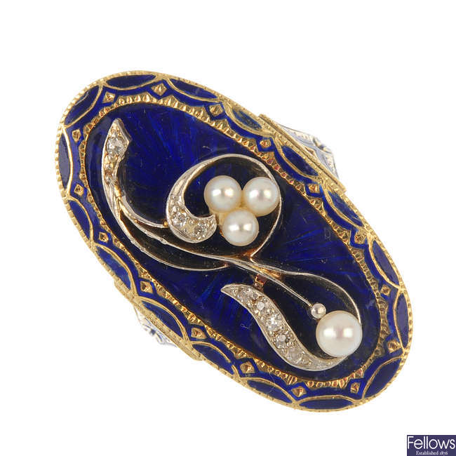 A diamond, cultured pearl and enamel ring.