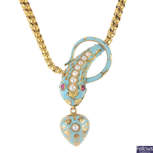 A mid 19th century gold, enamel and gem-set snake necklace.