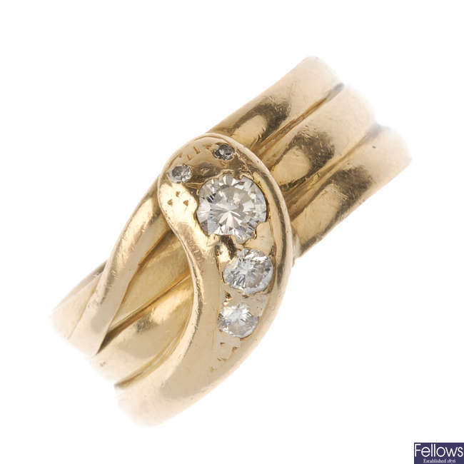 A late 19th century gold diamond snake ring.