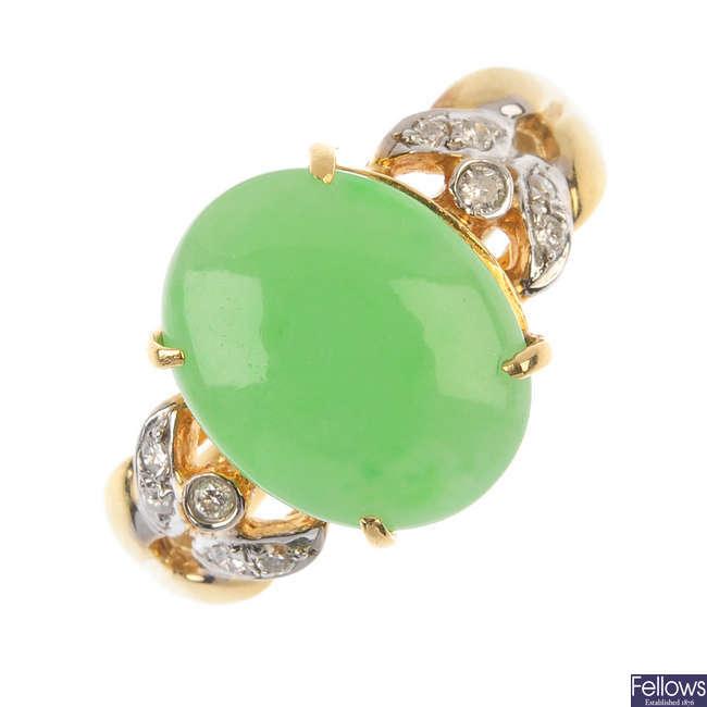 A jade and diamond ring.