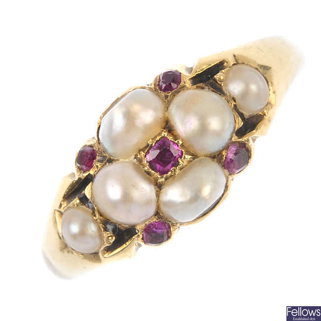 A mid 19th century split pearl and ruby ring.