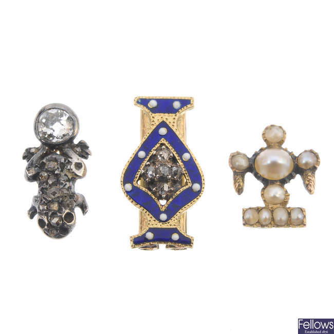 A selection of 19th century diamond and split pearl jewellery components.
