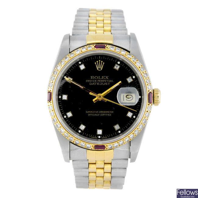 (185344) ROLEX - a gentleman's bi-metal Oyster Perpetual Datejust bracelet watch.
