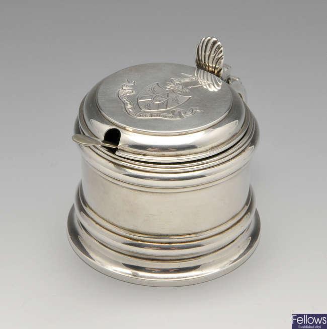 A Victorian silver mustard pot.