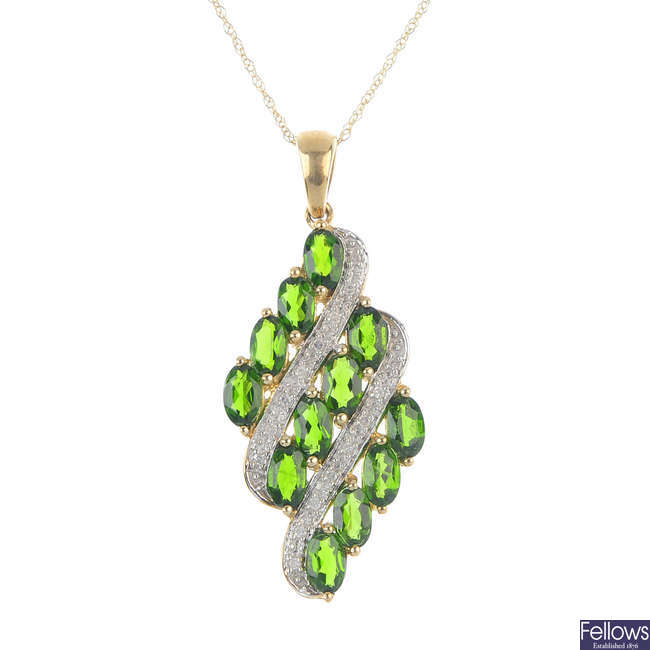 A 9ct gold diopside and diamond pendant, with chain.