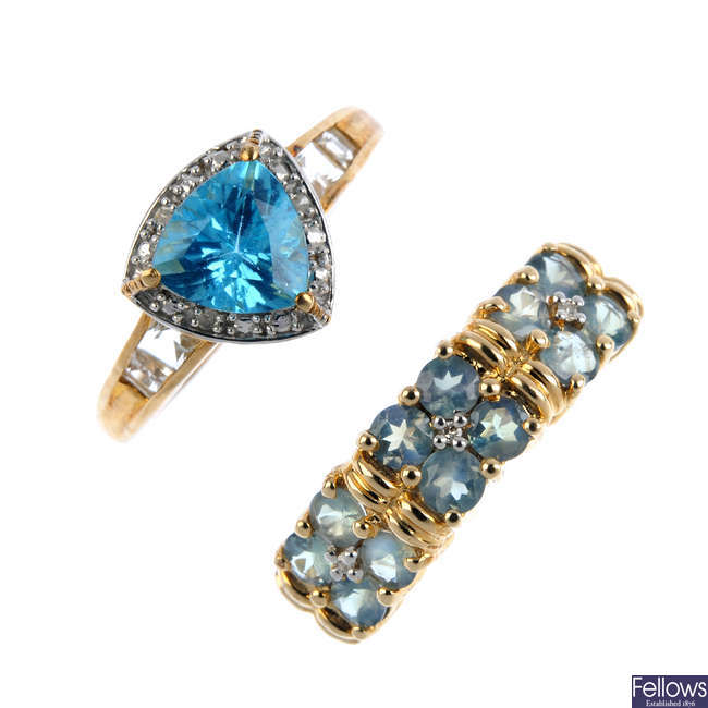 Two 9ct gold diamond and gem-set rings.
