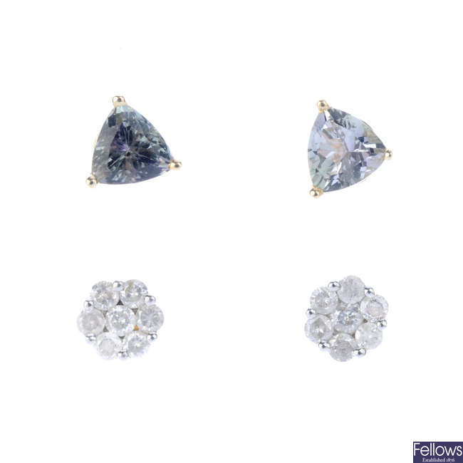 Two pairs of diamond and gem-set earrings.