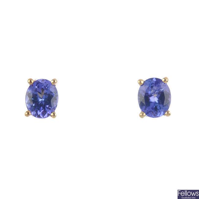 A pair of 18ct gold tanzanite earrings.