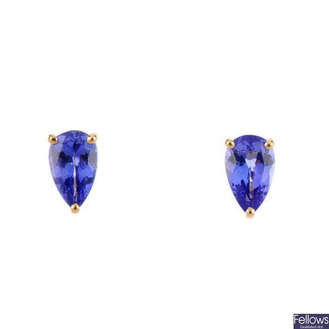 A pair of tanzanite single-stone stud earrings.